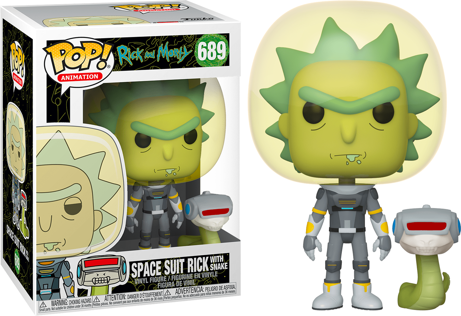 Funko Pop! Cartoons: Rick and Morty - Space Suit Rick with Snaketen